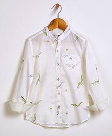 Liz Jacob Dinosaur Trail Shirt - Cream & Pastel Green