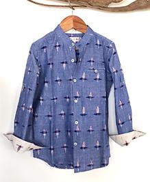 Liz Jacob Ikat Print Full Sleeve Shirt - Blue & White