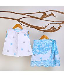 Liz Jacob Pretty Scallops Skirt Top - White & Sky Blue