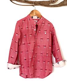 Liz Jacob Ikat Print Full Sleeve Shirt - Dark Pink