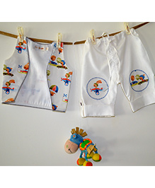 Liz Jacob Racing Rabbits Shorts Waistcoat Set - White