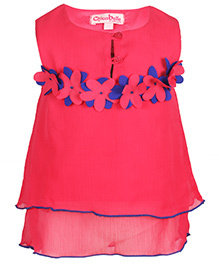 Chicabelle Flower Applique Dress - Magenta