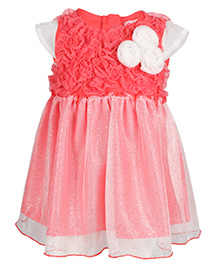 Chicabelle Glittery Flower Applique Dress - Coral
