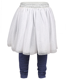 Chicabelle Glittery Skirt With Leggings - White