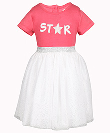 Chicabelle Glittery Dress With Embroidery - Pink & White