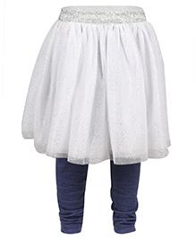 Chicabelle Glittery Skirt With Leggings - White