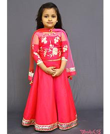 Varsha Showering Trends Flower Embroidered Blouse Lehenga & Dupatta Set - Pink
