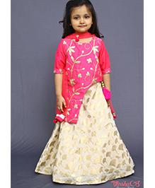 Varsha Showering Trends Stylish Printed Lehenga With Gota Work Top - Pink & Golden