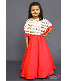 Varsha Showering Trends Sequence Cape Gown - Red