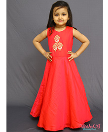Varsha Showering Trends Flower Embroidered Gown - Red