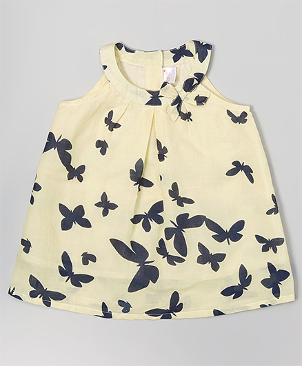Yo Baby Butterfly Printed Dress - Yellow & Black