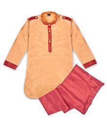 Kid1 Festive Pathani Kurta Pyjama - Rose Gold & Maroon