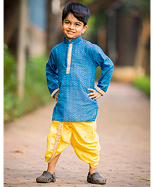 Kid1 Udai Royal Dhoti Kurta - Blue & Yellow