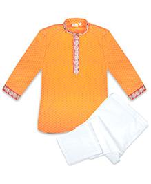 Kid1 Udai Royal Handloom Kurta Pyjama - Yellow