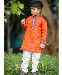 Kid1 Udai Royal Handloom Kurta Pyjama - Orange Rust