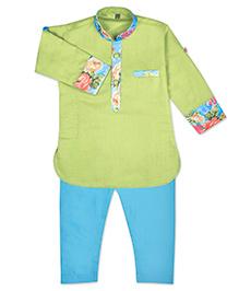 Kid1 Kurta Printed Pathani - Green