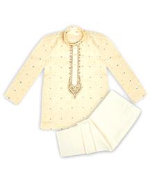 Kid1 Embroidered Handloom Kurta Pyjama - Cream