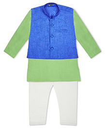 Kid1 Kurta Pyjama With Nehru Jacket - Green & Blue
