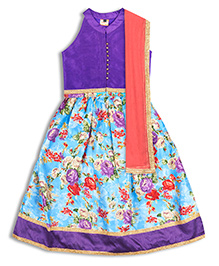 Kid1 Elegance Rosette Lehenga Choli With Ghungroo Buttons - Purple & Blue