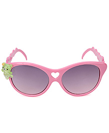 Kids Cateye Sunglasses With Teddy Appliques - Pink