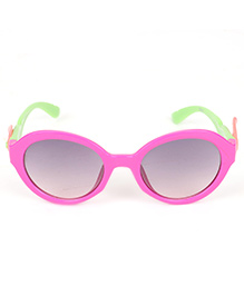 Kids Round Sunglasses With Wings Appliques - Fuchsia