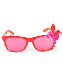 Kids Sunglasses With Bunny Ears Appliques - Red Orange