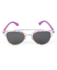 Kids Cateye Sunglasses Flower Print - Pink Purple