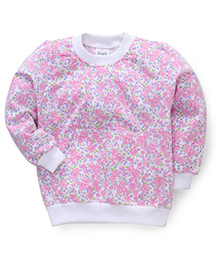 Simply Full Sleeves Top Floral Print - White Pink