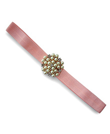 Little Miss Cuttie Elegant Diamond & Pearl Headband - Pink