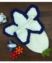 Magic Needles Flower Photo Prop Sleep Sack Cocoon - White & Blue