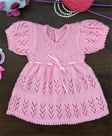 Magic Needles Woolen Lace Frock Girls - Pink
