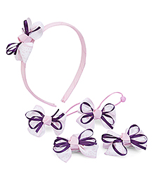 Anaira My Doll Hairband Hair Clip And Hair Rubber Band Set - Pink Purple