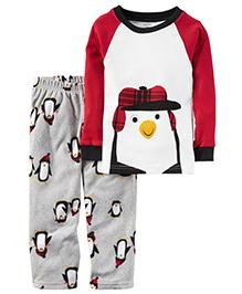 Carter's 2 Piece Cotton & Fleece PJs - Red White Grey