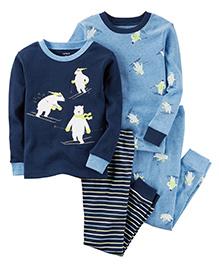 Carter's 4 Piece Pajama Set Skiing Polar Bear Print - Blue & White