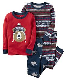 Carter's 4 Piece Pajama Set Bear Print - Navy & Red