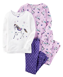Carter's Nightsuit Pack Of 2 - Purple White