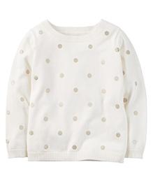 Carter's Glitter Dot Sweater - Ivory White