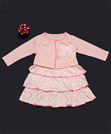 Pikaboo Party Wear Frill Frock With Full Sleeves Jacket - Pink