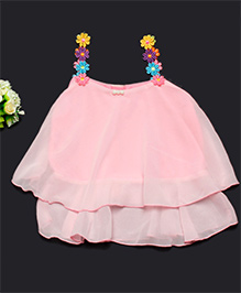 Pikaboo Singlet Party Wear Frills Top - Pink