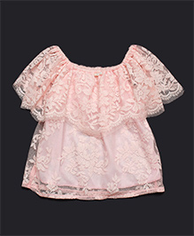 Pikaboo Party Wear Net Top With Pearl Applique - Pink