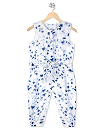 Budding Bees Infant Girls Printed Jumpsuit - White & Blue