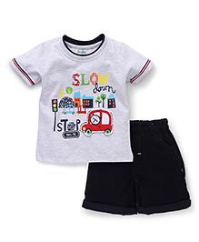 Babyhug Half Sleeves T-Shirt And Shorts Vehicle Print - Grey Black