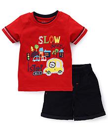 Babyhug Half Sleeves T-Shirt And Shorts Vehicle Print - Red Black
