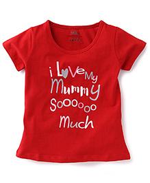 Babyhug Half Sleeves Top Caption Print - Red