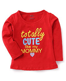 Babyhug Full Sleeves Top Caption Print - Red