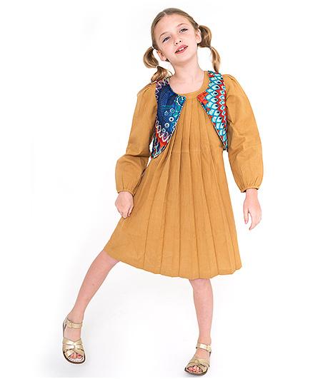 Yo Baby Pleated Peasant Dress & Reversible Vest Set - Brown