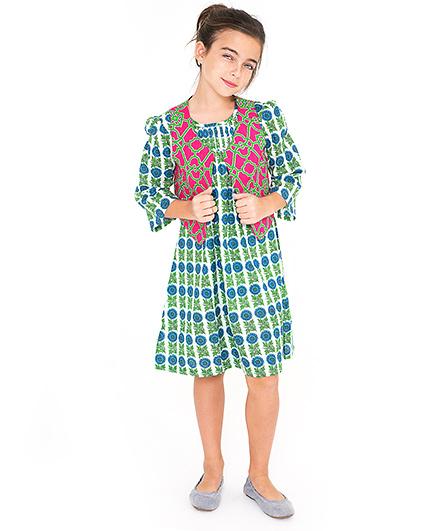 Yo Baby Sunflower Printed Dress & Vest Set - Green