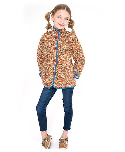 Yo Baby Floral Printed Reversible Jacket - Multicolor