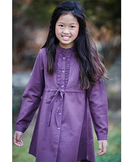 Yo Baby Stylish Button-Up Shirt Dress - Purple
