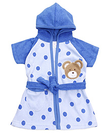 Pink Rabbit Half Sleeves Hooded Bath Robe Polka Dots - Blue